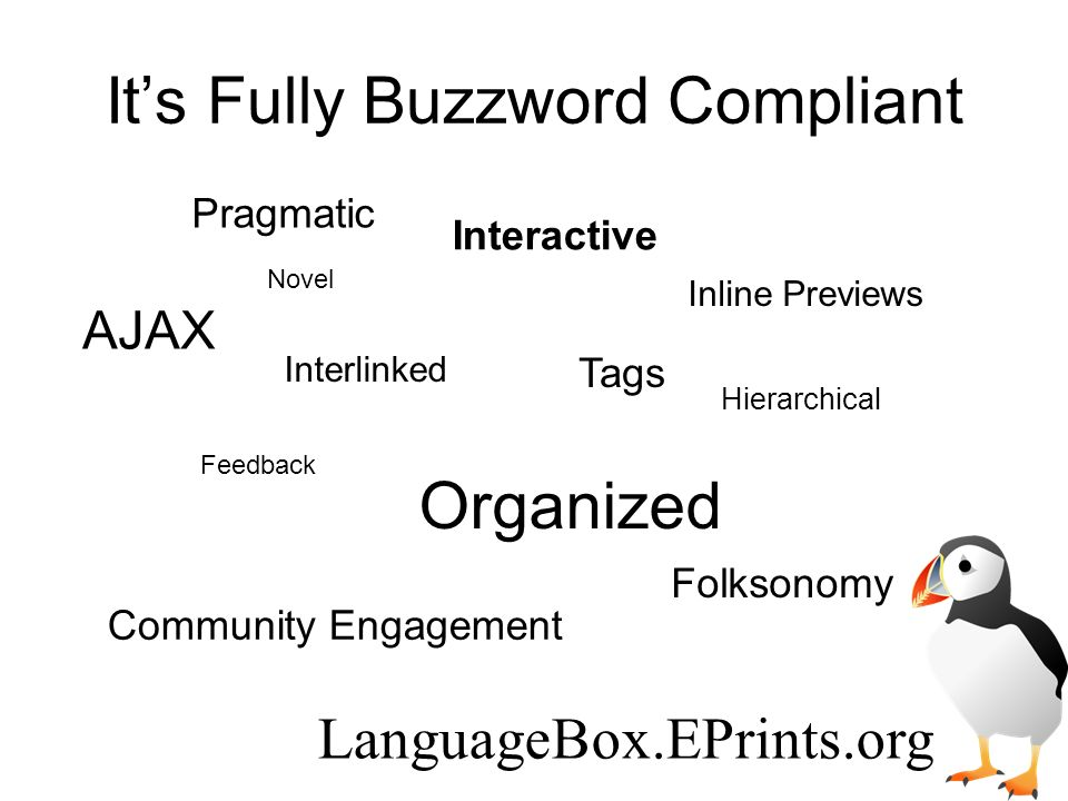 Its Fully Buzzword Compliant Interlinked Folksonomy Inline Previews Organized Hierarchical AJAX Interactive Feedback Tags Pragmatic Novel Community Engagement LanguageBox.EPrints.org
