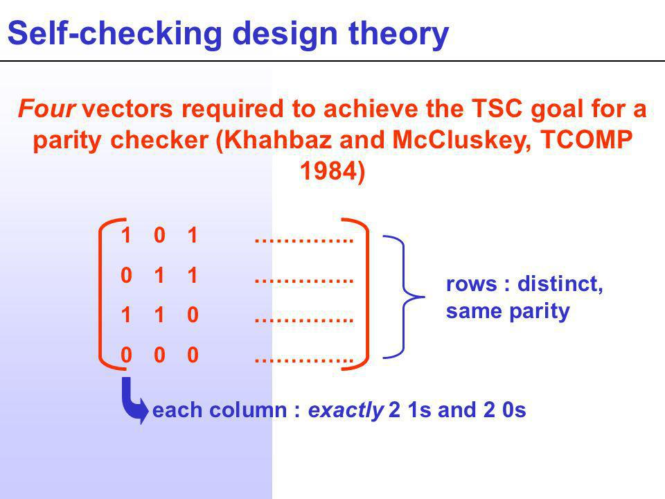 Self-checking design theory Four vectors required to achieve the TSC goal for a parity checker (Khahbaz and McCluskey, TCOMP 1984) 101………….. 011…………..