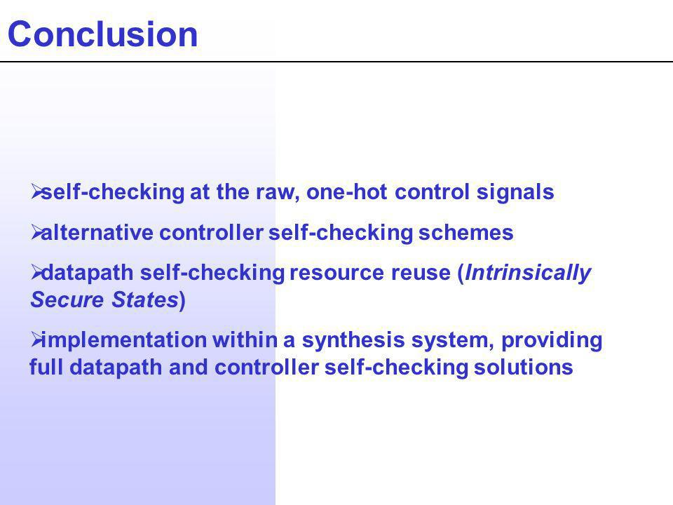 Conclusion self-checking at the raw, one-hot control signals alternative controller self-checking schemes datapath self-checking resource reuse (Intrinsically Secure States) implementation within a synthesis system, providing full datapath and controller self-checking solutions