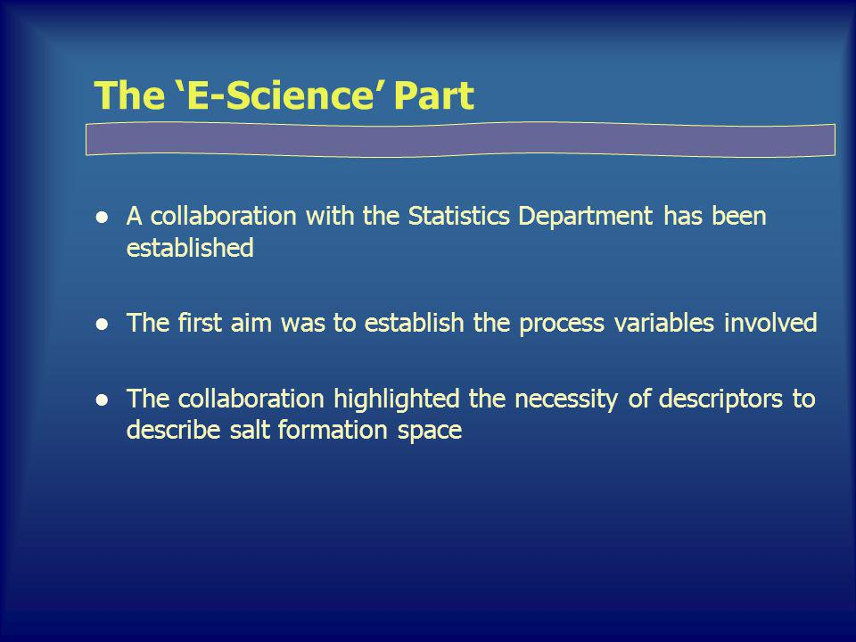 The E-Science Part A collaboration with the Statistics Department has been established The first aim was to establish the process variables involved The collaboration highlighted the necessity of descriptors to describe salt formation space
