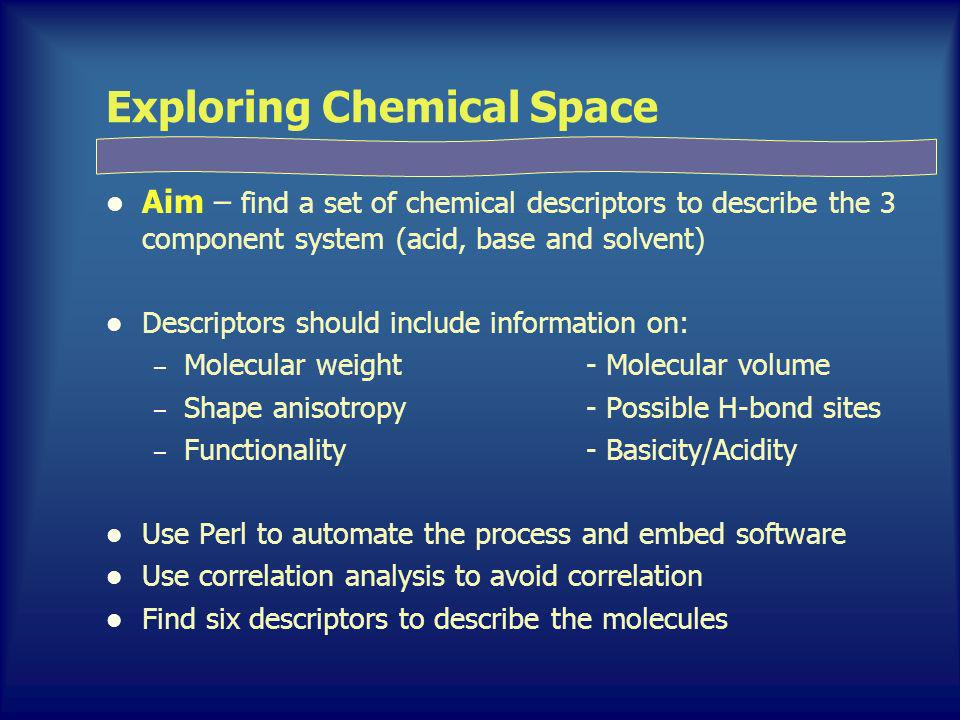 Exploring Chemical Space Aim – find a set of chemical descriptors to describe the 3 component system (acid, base and solvent) Descriptors should include information on: – Molecular weight- Molecular volume – Shape anisotropy- Possible H-bond sites – Functionality- Basicity/Acidity Use Perl to automate the process and embed software Use correlation analysis to avoid correlation Find six descriptors to describe the molecules