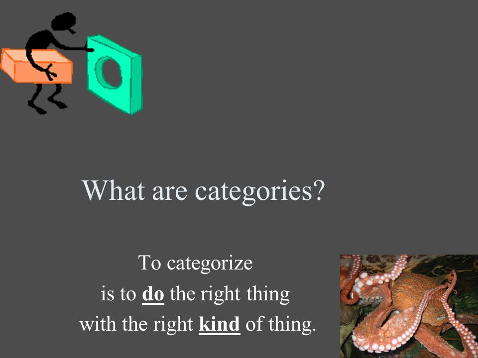 What are categories To categorize is to do the right thing with the right kind of thing.