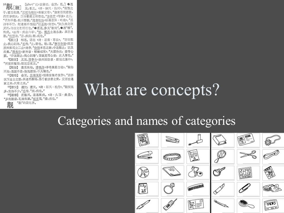 What are concepts Categories and names of categories
