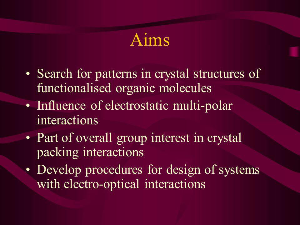 Aims Search for patterns in crystal structures of functionalised organic molecules Influence of electrostatic multi-polar interactions Part of overall