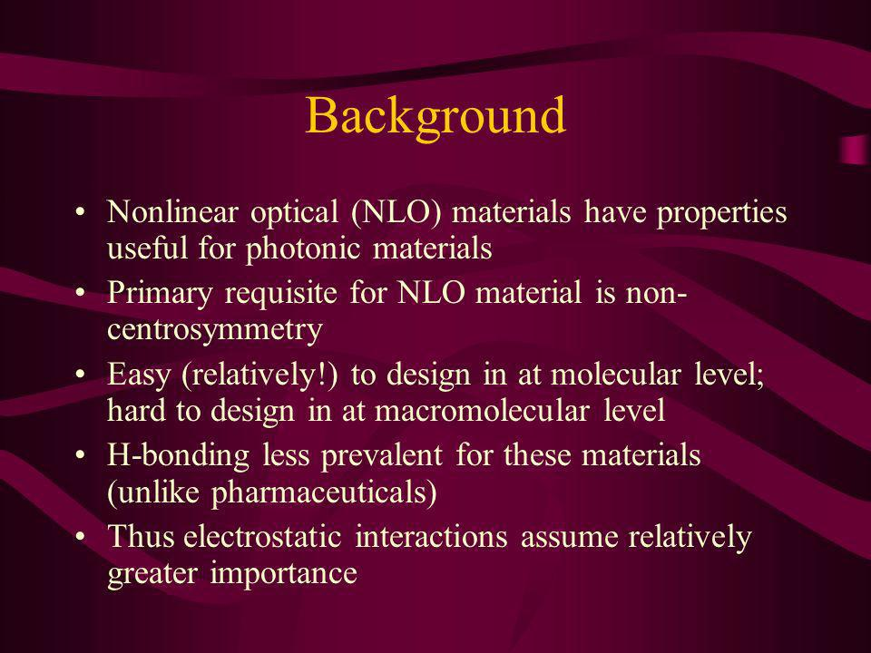 Background Nonlinear optical (NLO) materials have properties useful for photonic materials Primary requisite for NLO material is non- centrosymmetry E
