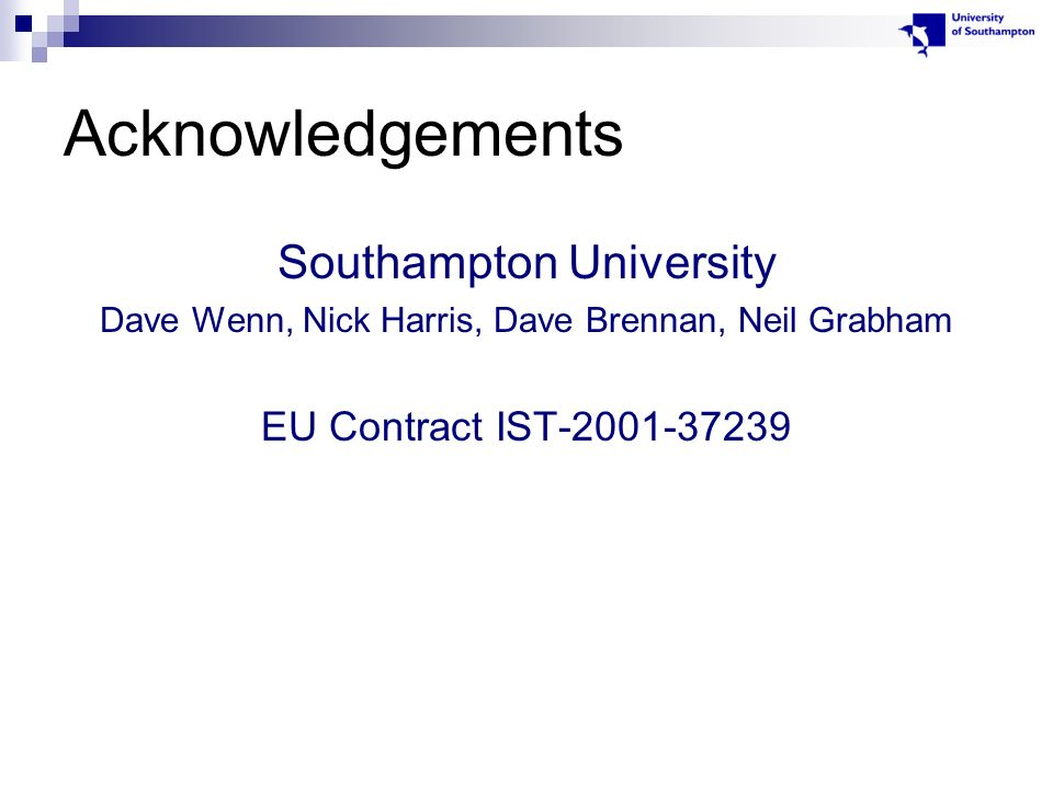 Acknowledgements Southampton University Dave Wenn, Nick Harris, Dave Brennan, Neil Grabham EU Contract IST