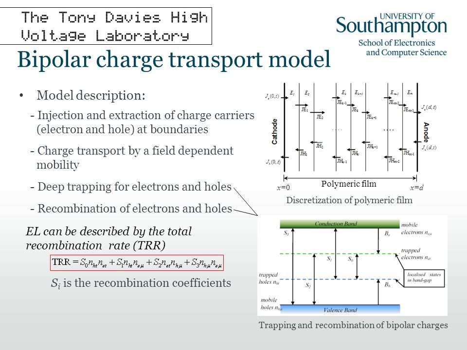 EL can be described by the total recombination rate (TRR) S i is the recombination coefficients Bipolar charge transport model Model description: - Injection and extraction of charge carriers (electron and hole) at boundaries - Charge transport by a field dependent mobility - Deep trapping for electrons and holes - Recombination of electrons and holes x=0x=d Polymeric film Discretization of polymeric film Trapping and recombination of bipolar charges