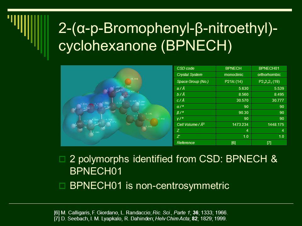 2-(α-p-Bromophenyl-β-nitroethyl)- cyclohexanone (BPNECH) 2 polymorphs identified from CSD: BPNECH & BPNECH01 BPNECH01 is non-centrosymmetric [7][6]Reference 1.0 Z 44Z 1448.1751473.234Cell Volume / Å 3 90 γ / º 9090.30β / º 90 α / º 30.77730.570c / Å 8.4958.560b / Å 5.5395.630a / Å P2 1 2 1 2 1 (19)P21/c (14)Space Group (No.) orthorhombicmonoclinicCrystal System BPNECH01BPNECHCSD code [6] M.