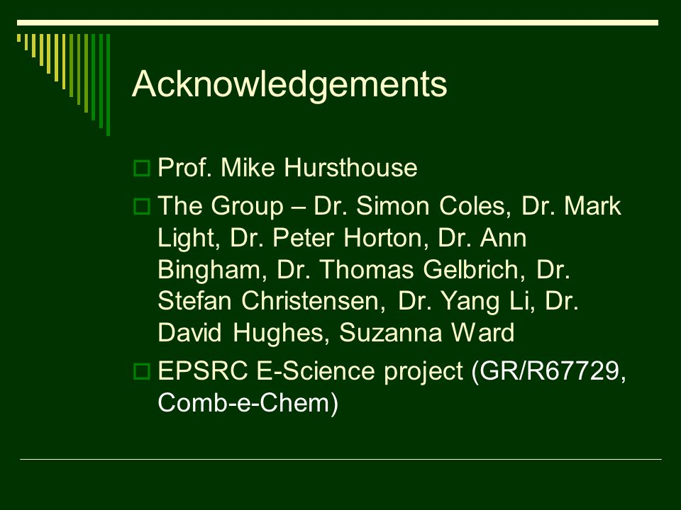 Acknowledgements Prof. Mike Hursthouse The Group – Dr.