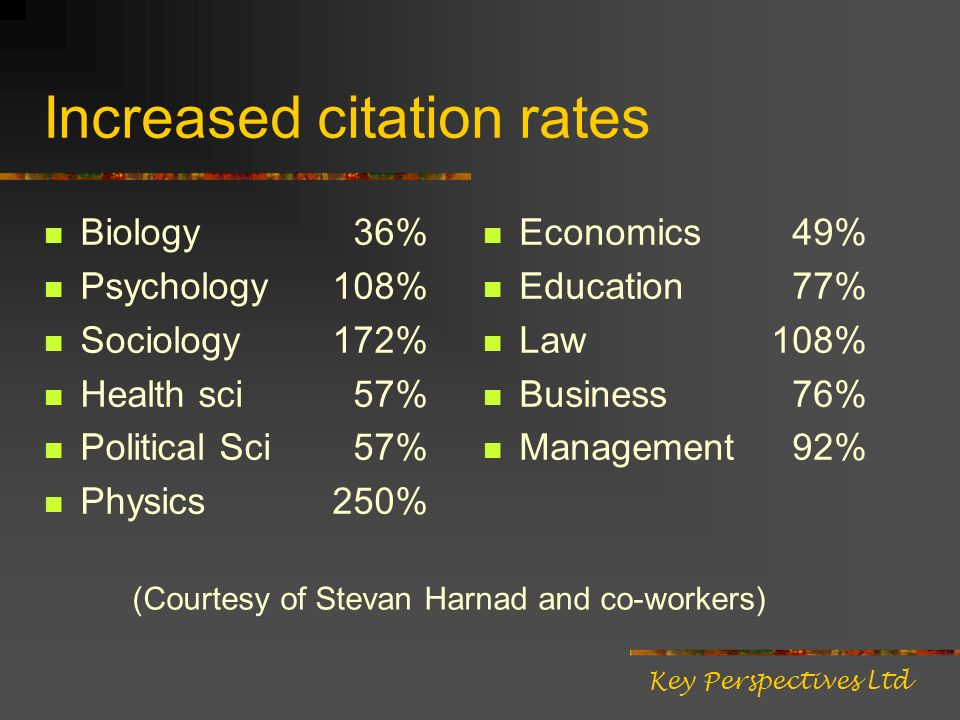 Increased citation rates Biology 36% Psychology108% Sociology172% Health sci 57% Political Sci 57% Physics250% Economics 49% Education 77% Law108% Business 76% Management 92% Key Perspectives Ltd (Courtesy of Stevan Harnad and co-workers)