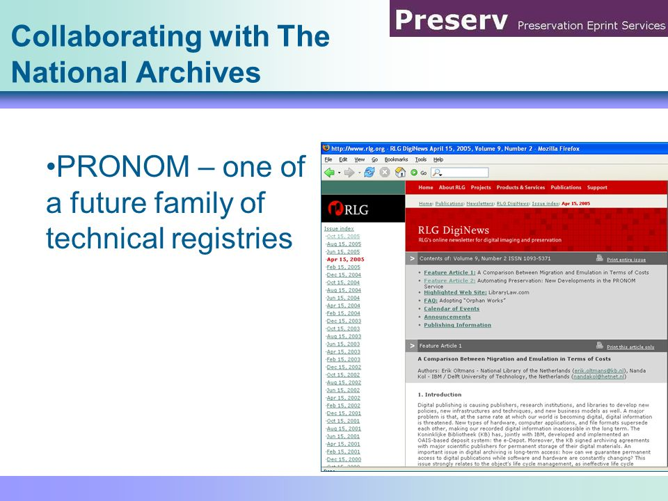 Collaborating with The National Archives PRONOM – one of a future family of technical registries