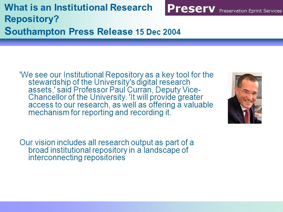 A national and international development of IRs The JISC vision reflecting the individual repositories (JISC Inform no.