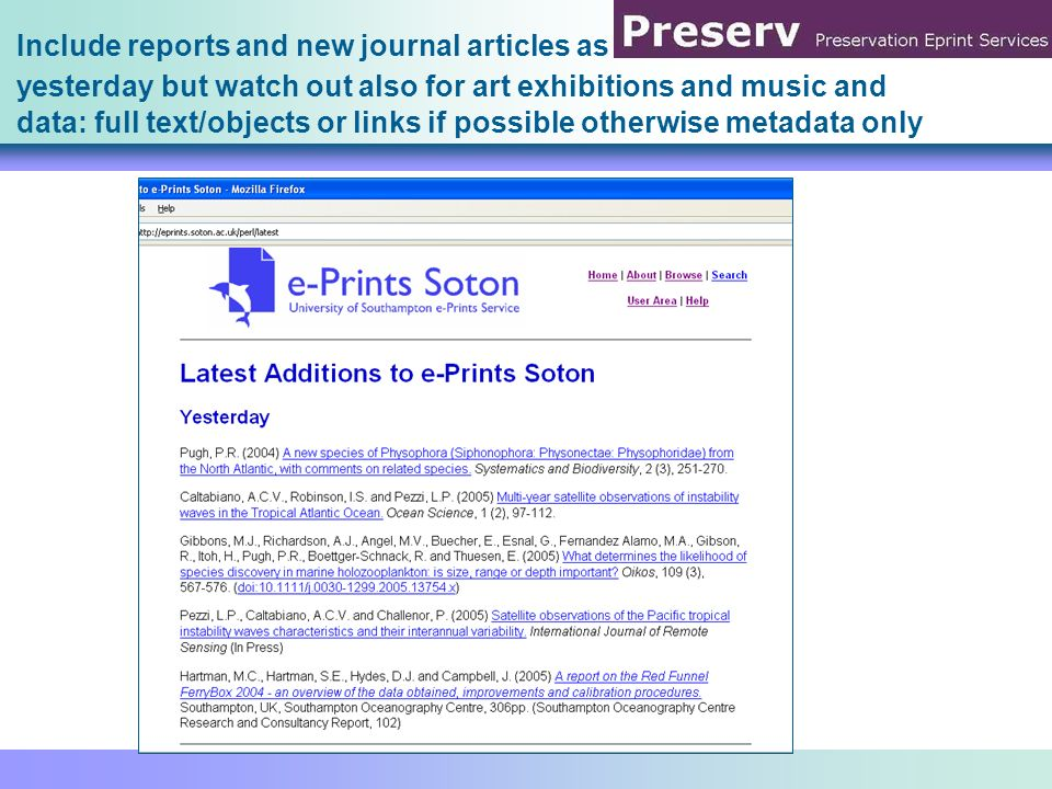 e-Prints Soton Pronom Survey Format Number of Records WinZip Compressed Archive ()15 Rich Text Format (1.4)1 Raw JPEG Stream ()1 Portable Document Format (1.6)16 Portable Document Format (1.5)99 Portable Document Format (1.4)315 Portable Document Format (1.3)714 Portable Document Format (1.2)100 Portable Document Format (1.1)12 OLE2 Compound Document Format ()18 Microsoft Powerpoint Presentation (97- 2002) 38 JPEG File Interchange Format (1.01)1 JPEG File Interchange Format (1.00)1 Hypertext Markup Language (4.0)1 Hypertext Markup Language ()9