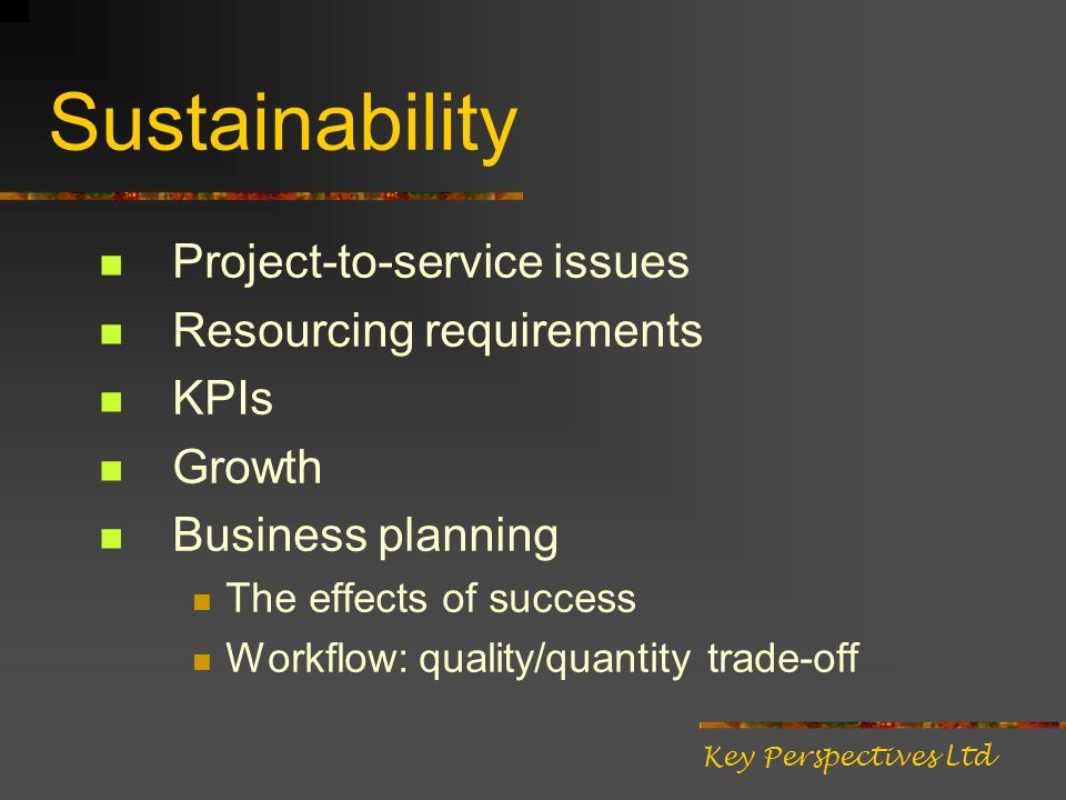 Sustainability Project-to-service issues Resourcing requirements KPIs Growth Business planning The effects of success Workflow: quality/quantity trade
