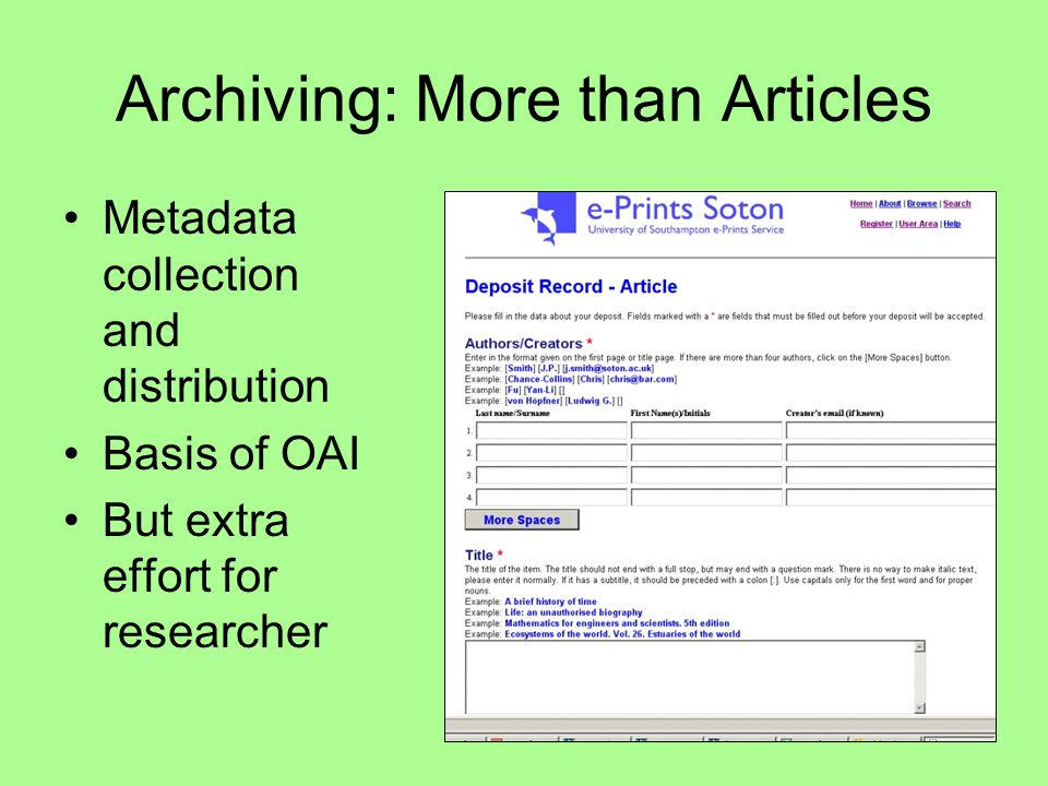 Archiving: More than Articles Metadata collection and distribution Basis of OAI But extra effort for researcher
