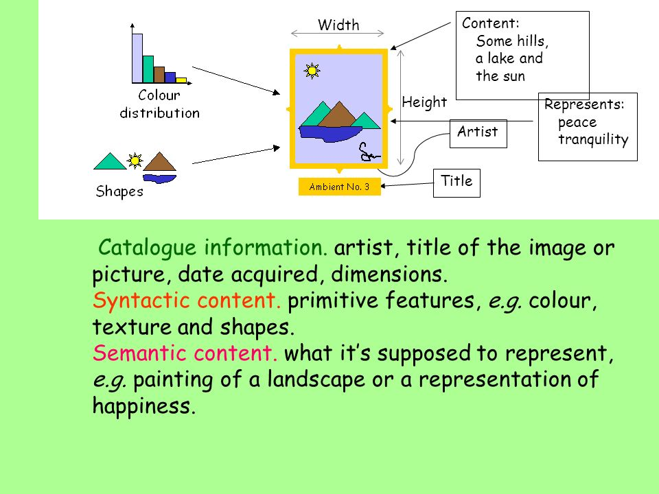 Catalogue information. artist, title of the image or picture, date acquired, dimensions.