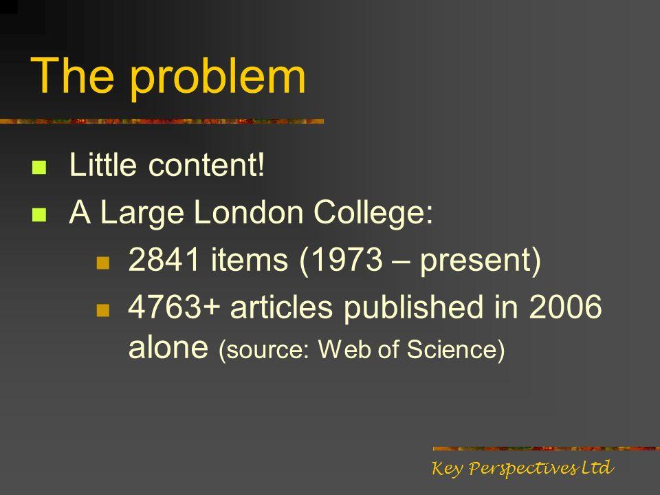 The problem Little content.