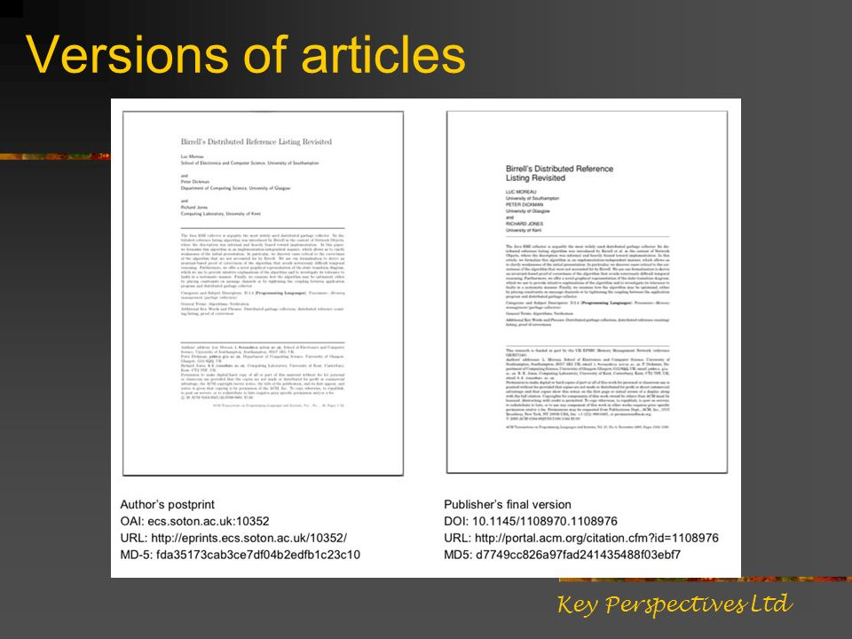 Versions of articles Key Perspectives Ltd