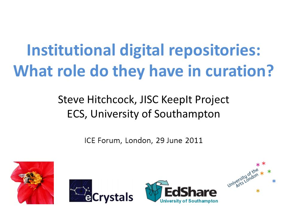 Institutional digital repositories: What role do they have in curation.