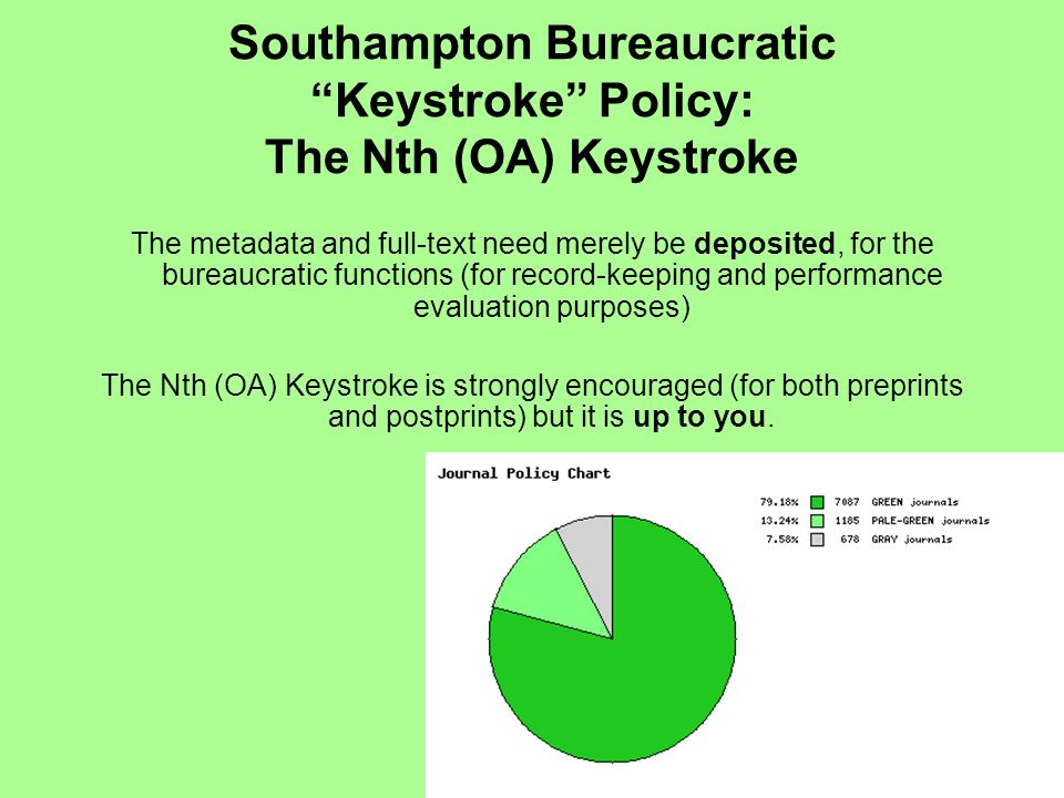 Southampton Bureaucratic Keystroke Policy: The Nth (OA) Keystroke The metadata and full-text need merely be deposited, for the bureaucratic functions (for record-keeping and performance evaluation purposes) The Nth (OA) Keystroke is strongly encouraged (for both preprints and postprints) but it is up to you.