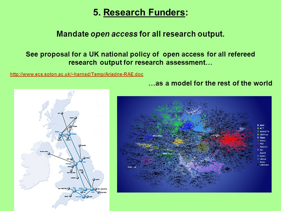 5. Research Funders: Mandate open access for all research output. See proposal for a UK national policy of open access for all refereed research outpu