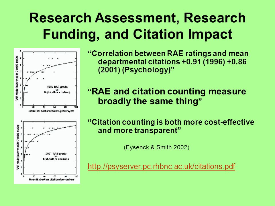 Research Assessment, Research Funding, and Citation Impact Correlation between RAE ratings and mean departmental citations +0.91 (1996) +0.86 (2001) (