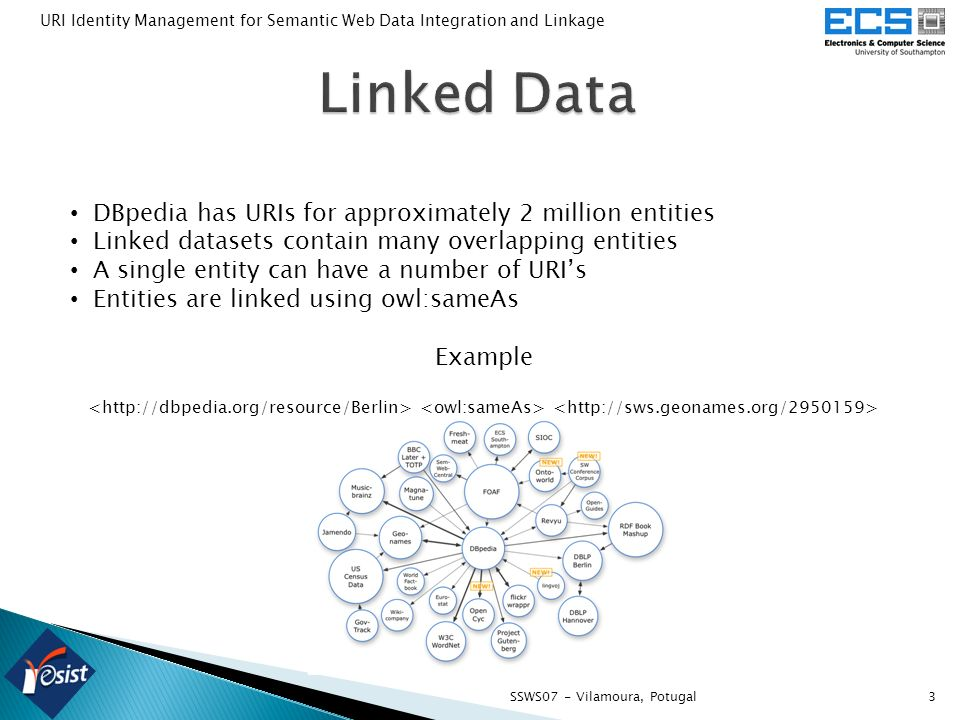 3SSWS07 - Vilamoura, Potugal URI Identity Management for Semantic Web Data Integration and Linkage DBpedia has URIs for approximately 2 million entities Linked datasets contain many overlapping entities A single entity can have a number of URIs Entities are linked using owl:sameAs Example