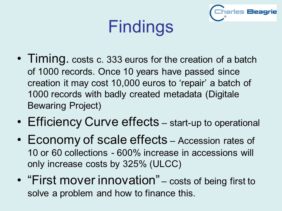 Findings Timing. costs c. 333 euros for the creation of a batch of 1000 records. Once 10 years have passed since creation it may cost 10,000 euros to