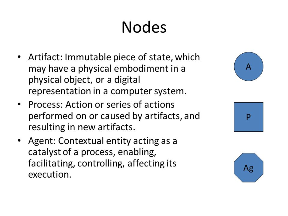 Nodes Artifact: Immutable piece of state, which may have a physical embodiment in a physical object, or a digital representation in a computer system.