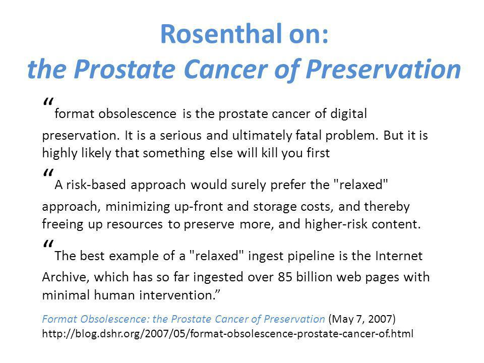 format obsolescence is the prostate cancer of digital preservation. It is a serious and ultimately fatal problem. But it is highly likely that somethi