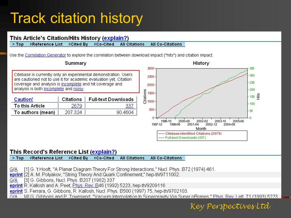 Track citation history Key Perspectives Ltd