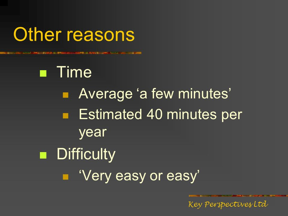 Other reasons Time Average a few minutes Estimated 40 minutes per year Difficulty Very easy or easy Key Perspectives Ltd