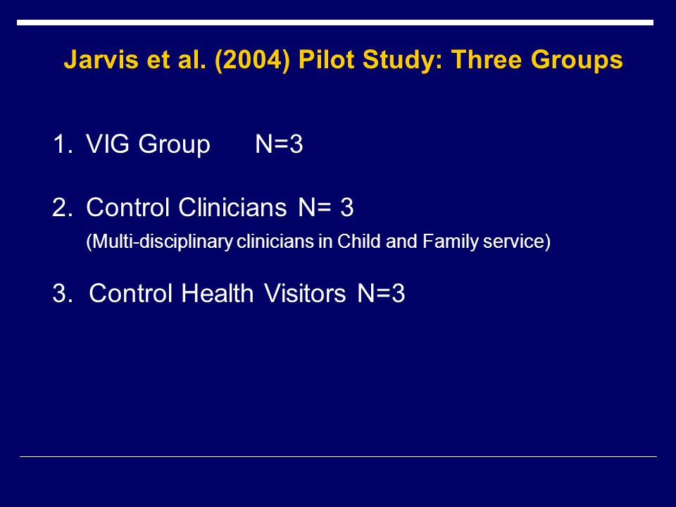 Jarvis et al. (2004) Pilot Study: Three Groups 1.VIG GroupN=3 2.Control Clinicians N= 3 (Multi-disciplinary clinicians in Child and Family service) 3.