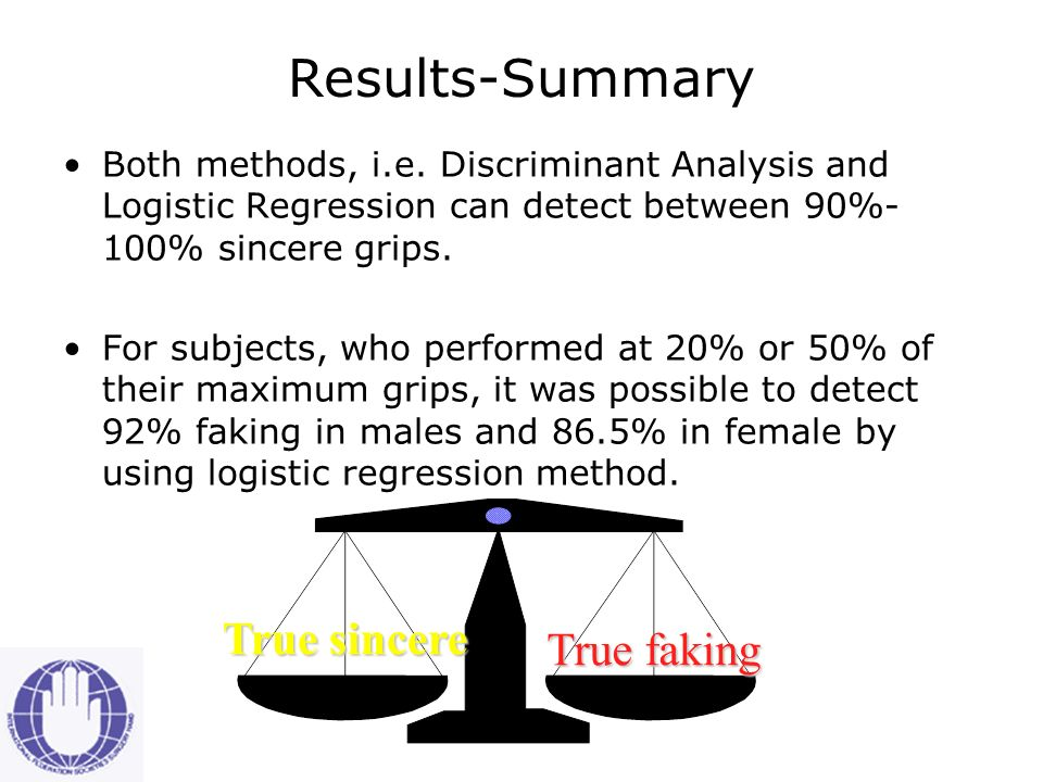 Percentage of successful detection of fake grip by Logistic Regression (Groups 1 & 2)