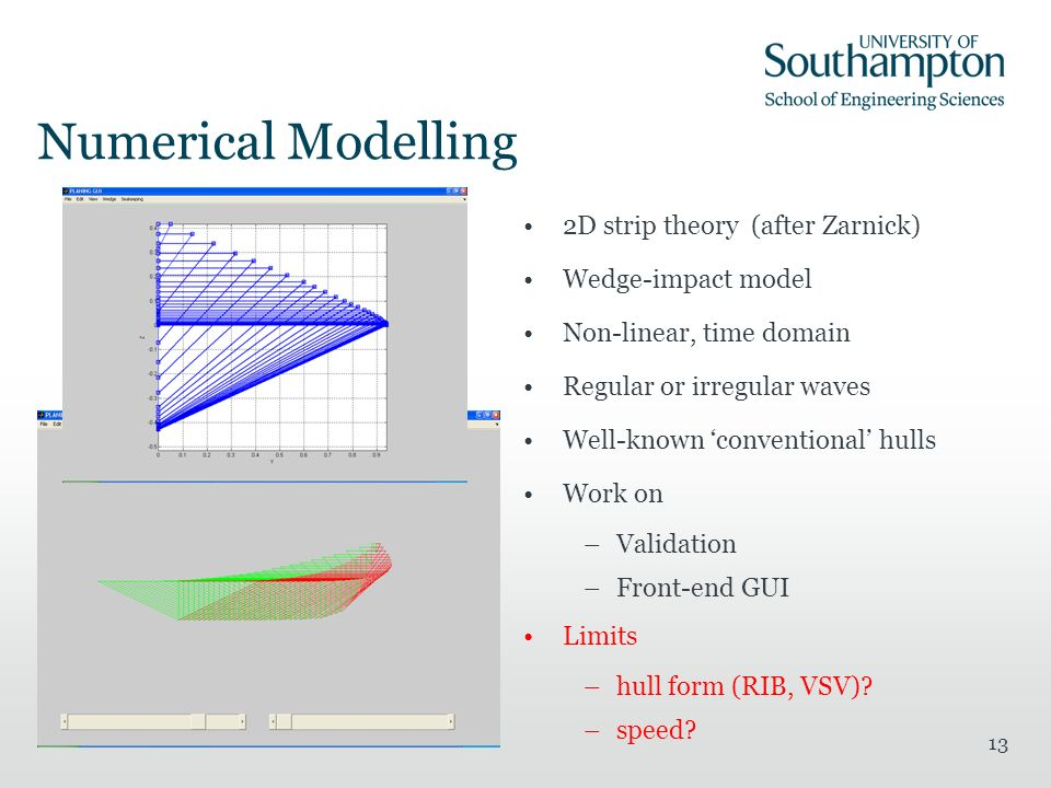 13 Numerical Modelling 2D strip theory (after Zarnick) Wedge-impact model Non-linear, time domain Regular or irregular waves Well-known conventional hulls Work on –Validation –Front-end GUI Limits –hull form (RIB, VSV).