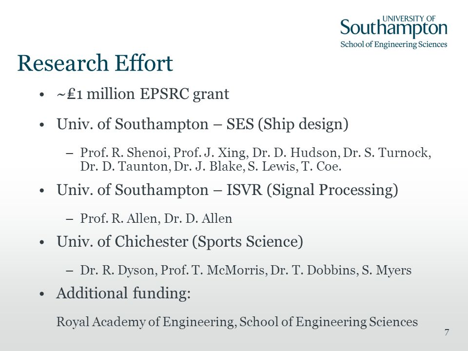 7 Research Effort ~1 million EPSRC grant Univ. of Southampton – SES (Ship design) –Prof.