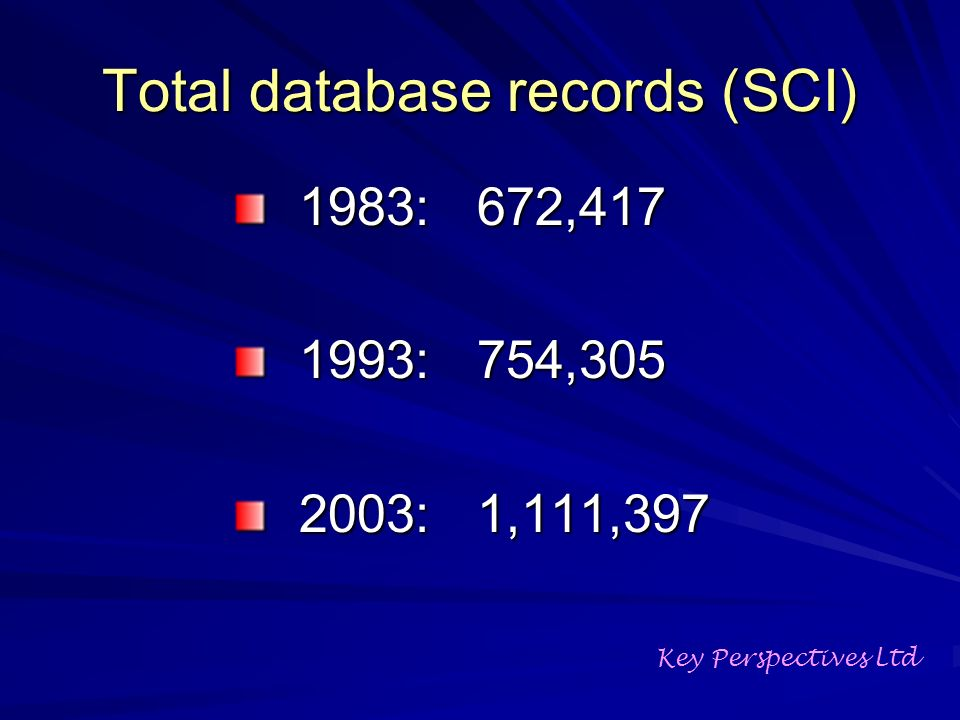 Total database records (SCI) 1983: 672, : 754, : 1,111,397 Key Perspectives Ltd