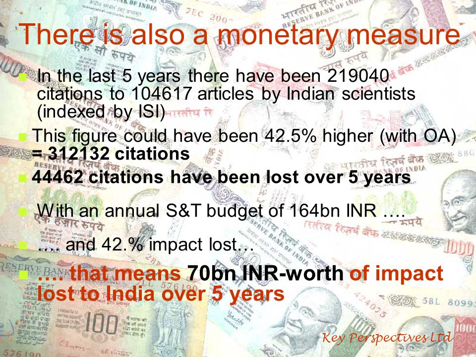 There is also a monetary measure In the last 5 years there have been 219040 citations to 104617 articles by Indian scientists (indexed by ISI) This fi