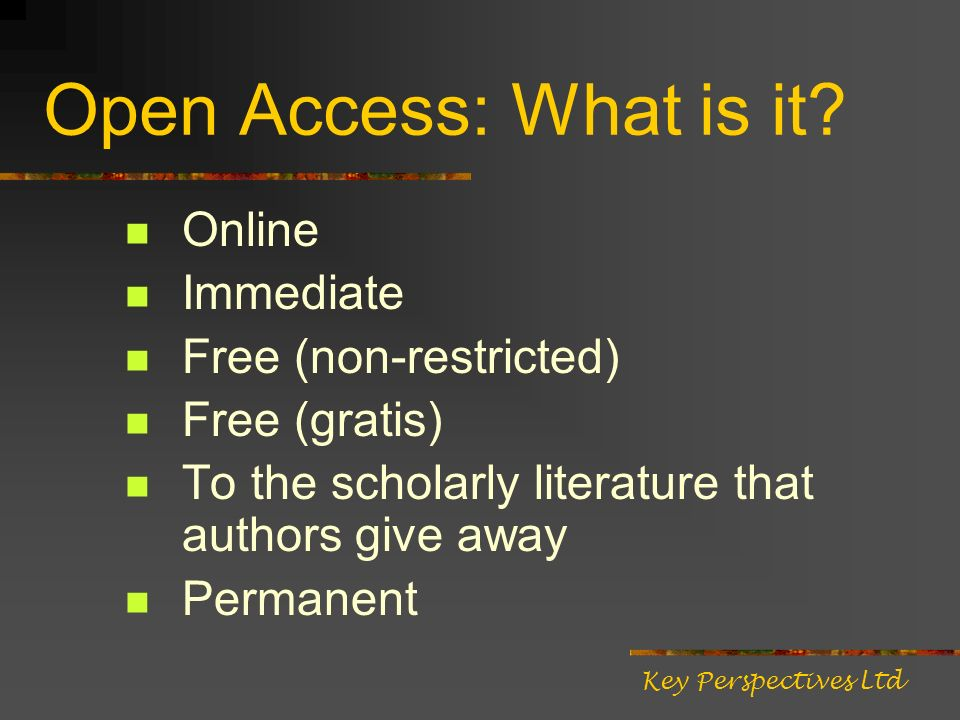 Open Access: Who benefits.