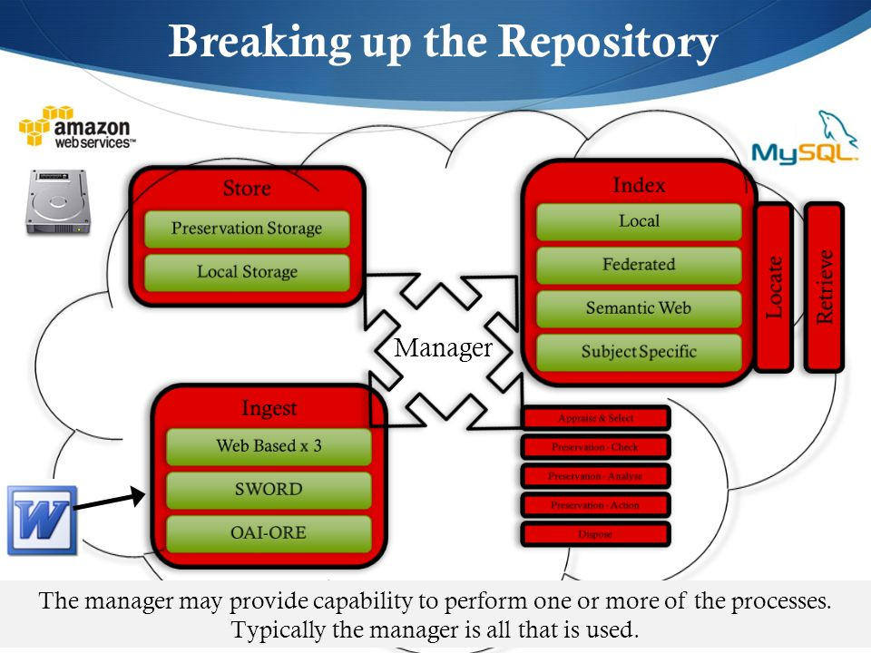 Breaking up the Repository Manager The manager may provide capability to perform one or more of the processes. Typically the manager is all that is us