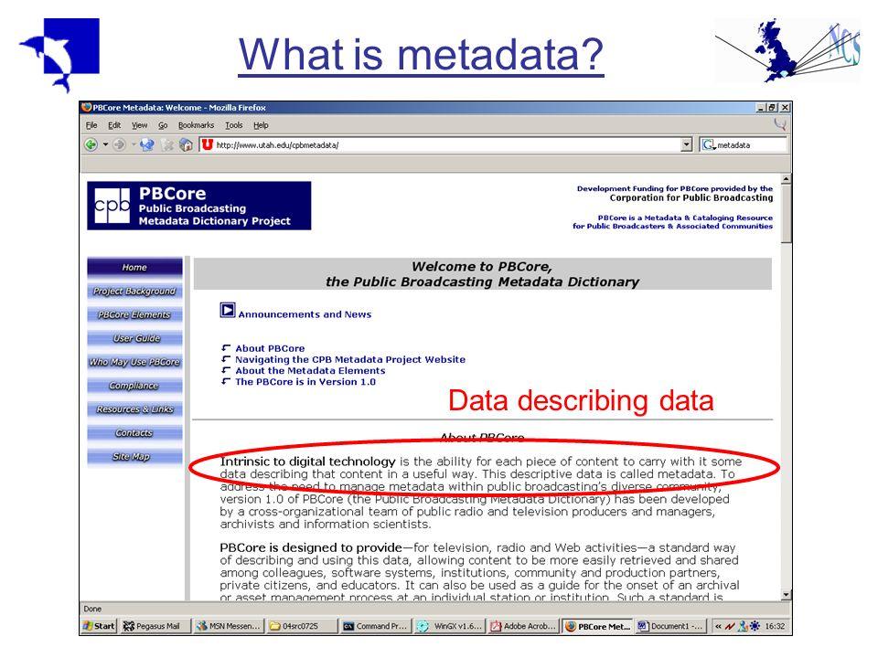 Metadata standards: Dublin Core About 15 core elements