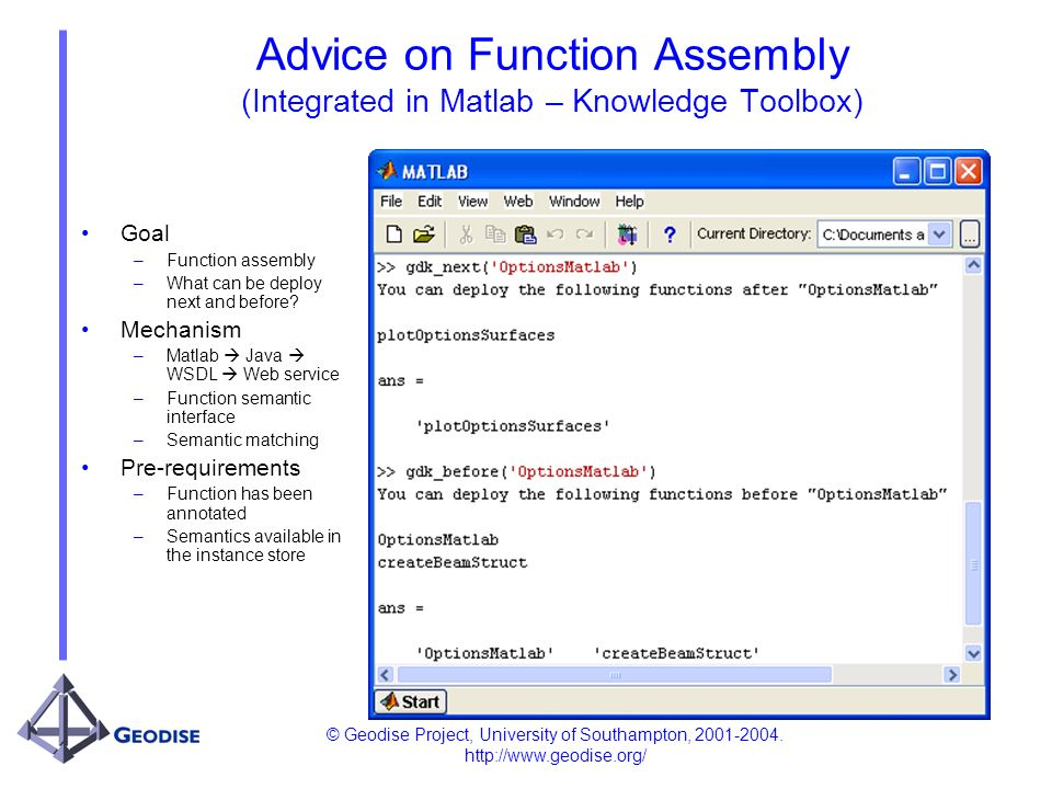 © Geodise Project, University of Southampton, 2001-2004. http://www.geodise.org/ Advice on Function Assembly (Integrated in Matlab – Knowledge Toolbox
