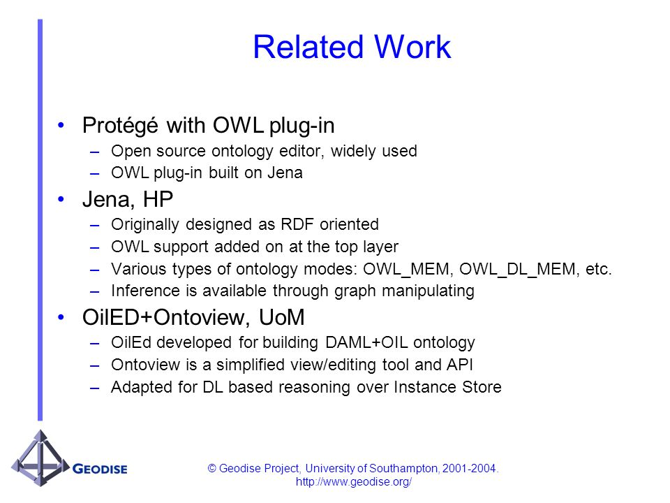 © Geodise Project, University of Southampton, 2001-2004. http://www.geodise.org/ Related Work Protégé with OWL plug-in –Open source ontology editor, w