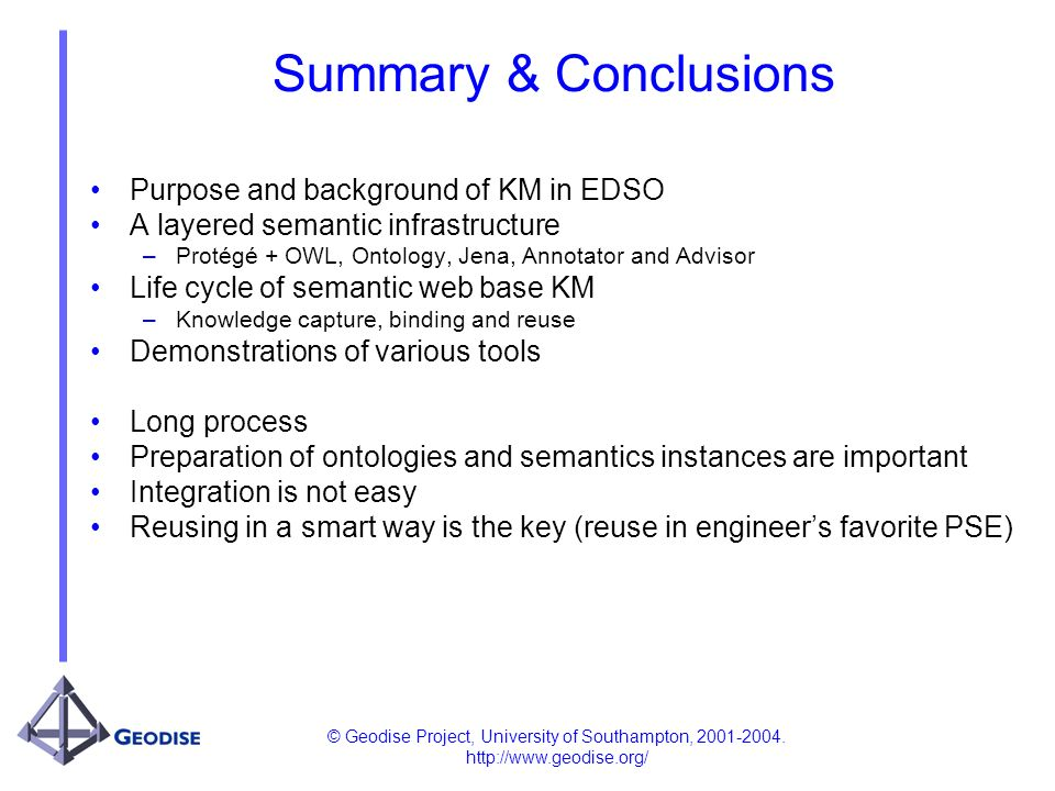 © Geodise Project, University of Southampton, 2001-2004. http://www.geodise.org/ Summary & Conclusions Purpose and background of KM in EDSO A layered