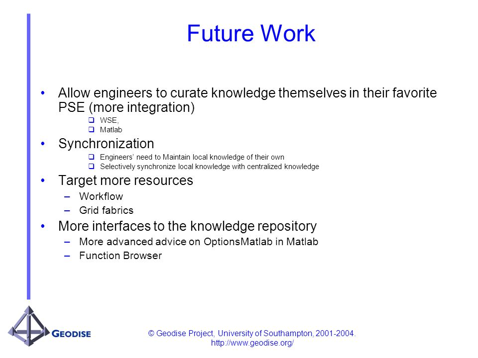 © Geodise Project, University of Southampton, 2001-2004. http://www.geodise.org/ Future Work Allow engineers to curate knowledge themselves in their f