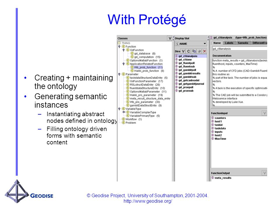 © Geodise Project, University of Southampton, 2001-2004. http://www.geodise.org/ With Protégé Creating + maintaining the ontology Generating semantic
