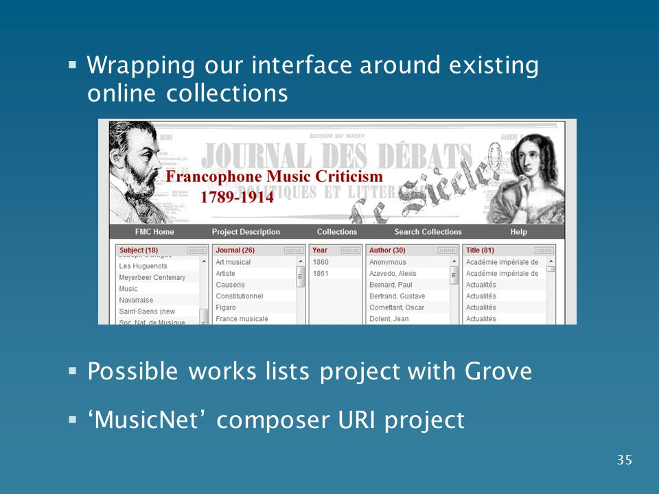 35 Possible works lists project with Grove MusicNet composer URI project Wrapping our interface around existing online collections