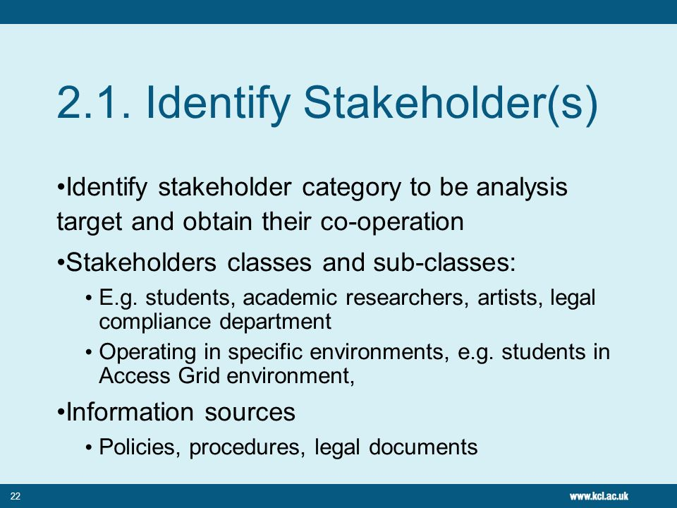 22 2.1. Identify Stakeholder(s) Identify stakeholder category to be analysis target and obtain their co-operation Stakeholders classes and sub-classes