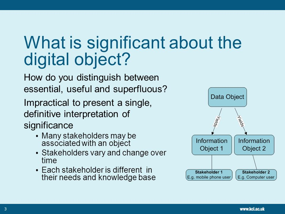 3 What is significant about the digital object? How do you distinguish between essential, useful and superfluous? Impractical to present a single, def