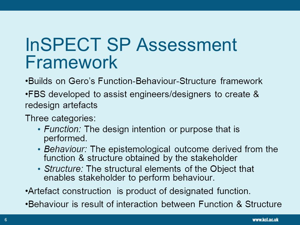 6 InSPECT SP Assessment Framework Builds on Geros Function-Behaviour-Structure framework FBS developed to assist engineers/designers to create & redes